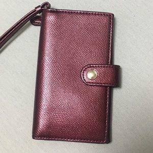 COACH Burgundy Pearl Phone Wallet